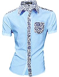 uxcell Men Short Sleeves Floral Prints Shirt