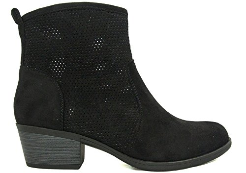 BETANI Womens Perforated Round Toe Low Block Heel Ankle Bootie Black 7OrMtwXh