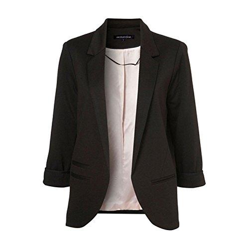 JIANGTAOLANG Women Slim Fit Blazer Jackets Notched Office Work Open Front Candy Color Blazer Black XL