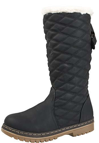 Boots Size Dora Knee Black Ladies UK Lora Winter Snow Boots 8 Faux Womens 3 Shoes Fur Lined High Quilted dt01q6