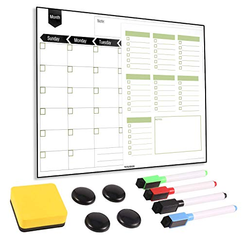 Magnetic Fridge Calendar - Dry Erase Monthly Planner & Bonus Grocery to-do List, 4 Markers, Eraser, 4 Magnets 16''x12'' for Kitchen Office ()