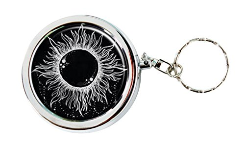 Trippy Sun and Moon Cute Pocket Purse Ashtray Portable Box Stainless Steel Circular Keychain Decor Tray with Holder Case