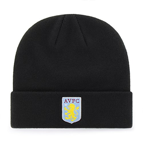Aston Villa Hat - International Soccer Aston Villa EPL OTS Raised Cuff Knit Cap, Black, One Size