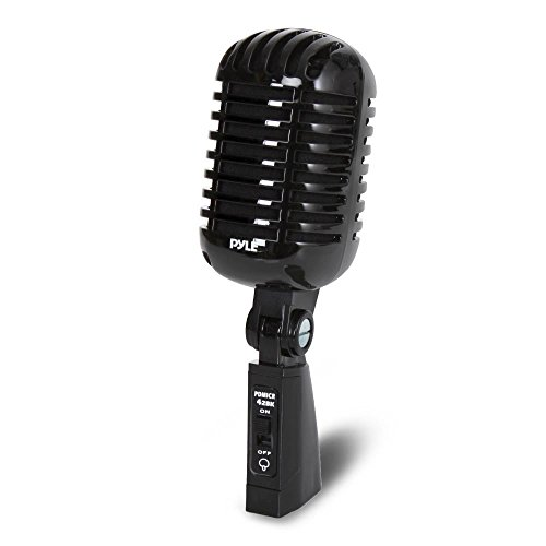 Classic Retro Dynamic Vocal Microphone - Old Vintage Style Unidirectional Cardioid Mic with XLR Cable - Universal Stand Compatible - Live Performance, In Studio Recording - Pyle Pro PDMICR42BK (Black)