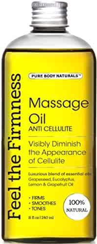 Cellulite Oil for Massage, 100% Natural Anti Cellulite Massage Oil Treatment, Firming, Slimming, Smoothing, Penetrates & Hydrates Deeper than Cellulite Creams - by Pure Body Naturals, 8 Fl. Oz.