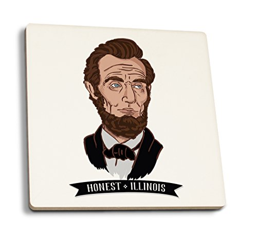 Abraham Icon Lincoln - Honest, Illinois - Abraham Lincoln - Icon (Set of 4 Ceramic Coasters - Cork-Backed, Absorbent)