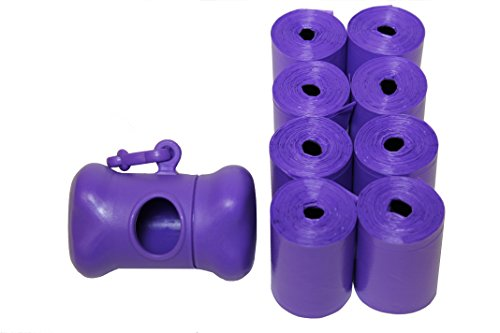 Originalpetbags 120 Easy Open & Strong Leak-Proof Poop Bags Dog Waste Bags 13.25 x 9 Made in USA with Dispenser.Bags are easier to tie than standard 12 inch bags, Purple