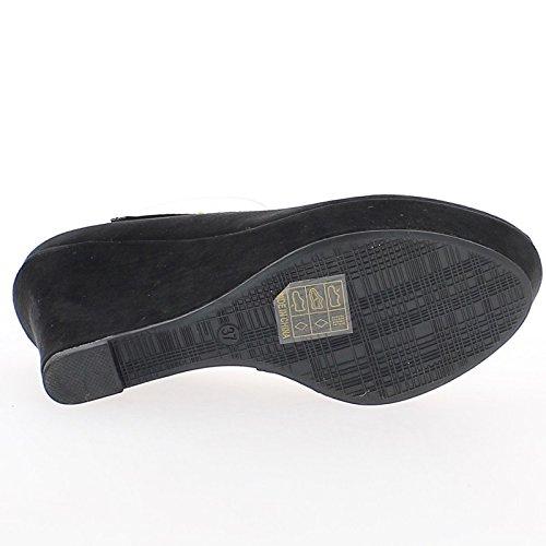 Wildleder Top mit 5 10 schwarz Offset cm Ferse aussehen qwI441