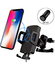 Vorally Wireless Car Charger,Qi Fast Wireless Charger Car Mount 10W 360¡ã Air Vent Phone Holder Cradle for iPhone XS XR X 8/8 Plus,Galaxy S9 S9 Plus S8 S8 Plus and Other Qi-enabled Devices