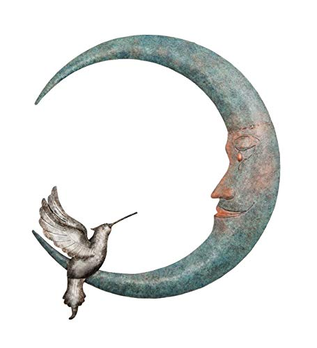 Wind & Weather Crescent Moon and Hummingbird Metal Wall Art ()