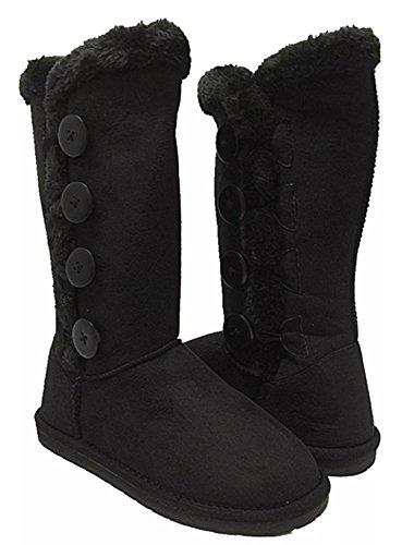 Women's Fur Mid-Calf 4 Buttons Faux Soft Snow Winter Flat Boot Shoes New 02 Black