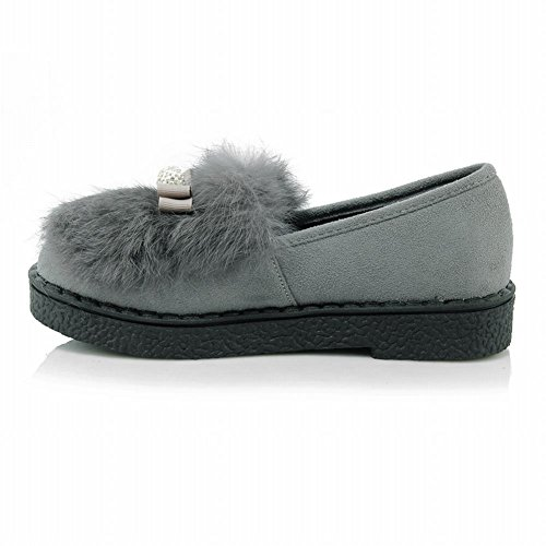 58bc34ea2d9 outlet Latasa Women s Faux Fur Slip on Flat Winter Loafers Shoes ...