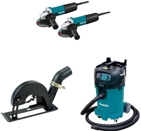 Makita 9557NB2 4-1 2 Angle Grinder, with AC DC Switch 2 Pack with Makita Makita 193794-5 Dust Extracting 4-1 2 – 5 Grinder Cutting Guard – with shoe with Makita VC4710 12-Gallon Wet Dry Vacuum
