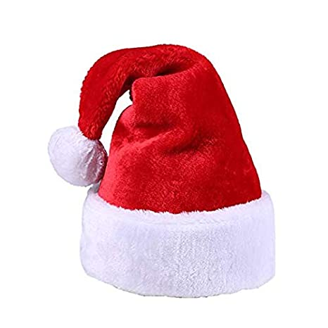 02f7321eba2be Amazon.com  Luxury Classic Santa Hat for Adults Plush Red Velvet   Comfort  Liner Christmas Halloween Costume (Red)  Toys   Games