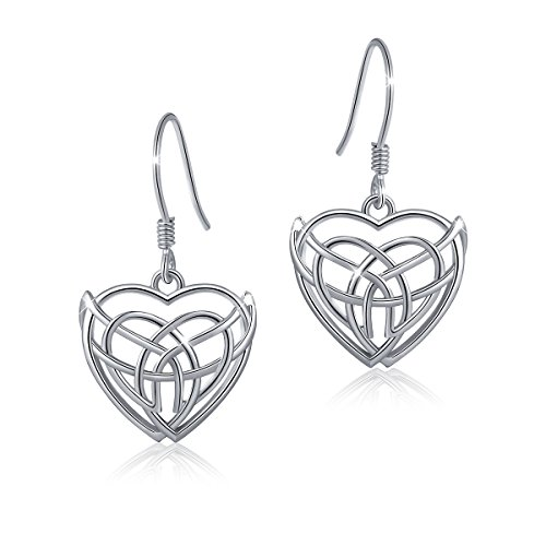 ATHENAA S925 Sterling Silver Good Luck Infinity Love Heart Celtic Knot Earring (Earring 1)