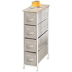 mDesign Narrow Vertical Dresser Storage Tower - Sturdy Frame, Wood Top, Easy Pull Fabric Bins - Organizer Unit for Bedroom, Hallway, Entryway, Closets - Textured Print - 4 Drawers, Light Tan/White