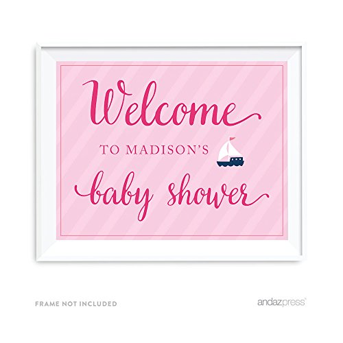 Andaz Press Pink Girl Nautical Baby Shower Collection, Personalized Party Sign, Welcome to Madison's Baby Shower, 8.5x11-inch, 1-Pack