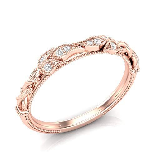 (14K Rose Gold Floral Vintage Wedding Band Rope Leaf Tree Band Milgrain Band Filigree Unique Band Stackable Band For Her Diamond Band Antique Wedding Band Art Deco Band)