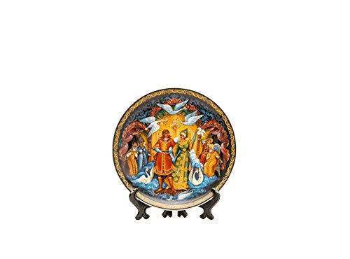 - Quality Import Q382-1, 8'' Porcelain Decorative Plate w/Tales of Pushkin Painting, Round Wall Decor Platter