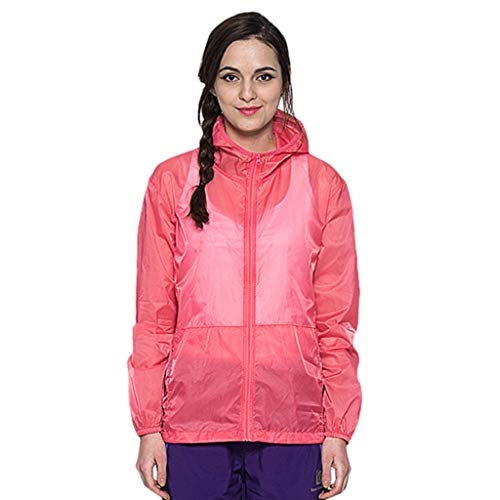 Women Men's/Youth UPF 50 Sun Protection Hoodie Long Sleeve Performance T-Shirt Windproof Outdoor Bicycle Sports Jacket Red ()