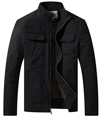 WenVen Men's Fall Casual Army Lightweight Jacket(Black,Small)