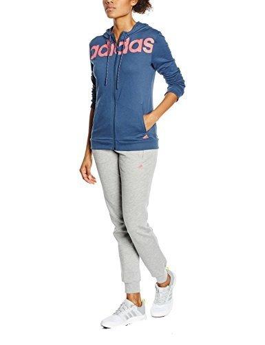 adidas Damen Trainingsanzug ESS Linear COTT, Blau/Rosa, 2XL, 4055344162248
