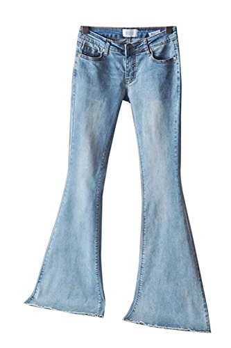 La Mujer Casual Distressed Elastico Longitud Total Denim Pantalones Vaqueros De Trompeta Azul