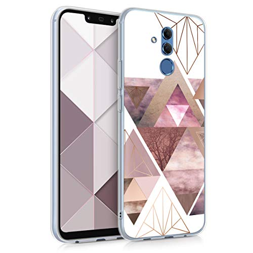 kwmobile Case for Huawei Mate 20 Lite - TPU Silicone Crystal Clear Back Case Protective Cover IMD Design - Light Pink/Rose Gold/White ()