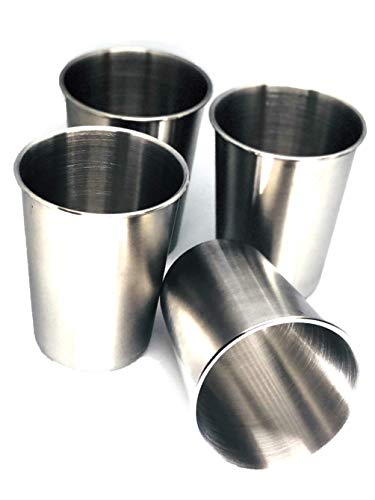 Stainless Steel Cups - BPA Free Reusable UnBreakeable, Safe for Baby Kids Recyclable Stackable - Set with 4 / 8oz Cups. Camping Traveling RVs Boats Transition Cup. Non Toxic Eco Friendly