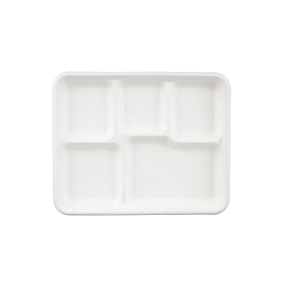Go-Green Eco-Friendly 100% compostable, Sugarcane Fiber, Disposable 5-Compartment Tray, 100 Pack