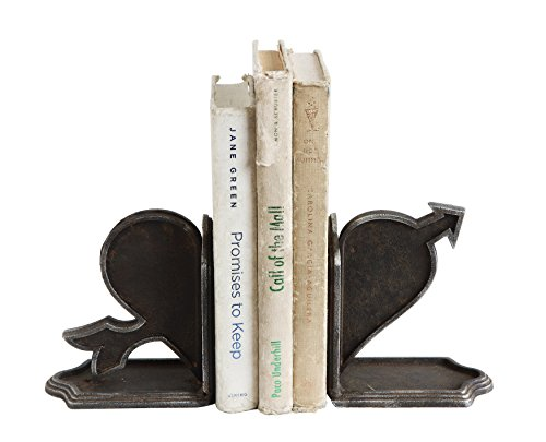 Creative Co-Op DA7562 Urban Homestead Cast Iron Heart & Arrow Bookends