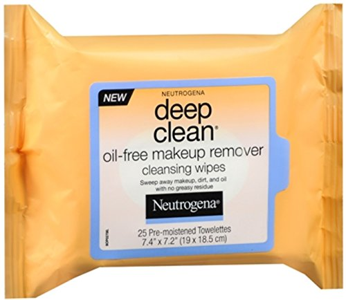Neutrogena Deep Clean Oil-Free Makeup Remover Cleansing Wipes 25 Each Pack of 4