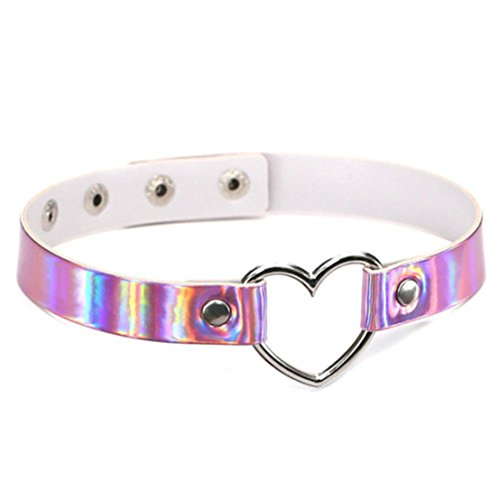 (OrliverHL Women Jewelry Necklace Holographic Rainbow Choker Heart Laser Collar Chocker,Pink)