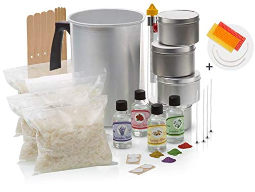 Momila Soy Wax Candle Making Kit -Complete DIY Kit w/All Candle Making Supplies + 2 Bonus Beeswax Candles. Includes 2 LB All-Natural Soy Wax, Melting Pot, Candle Tins, Dye Blocks, Fragrances & More.