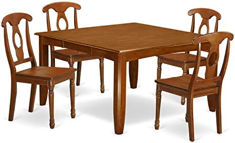 PFNA5-SBR-W 5 Pc Dining room set-Table with Leaf and 4 Kitchen Chairs.