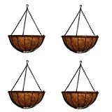MTB Garden Hanging Baskets for Plants 14'' Traditional Style with Coco-Liner, Pack of 4 Hanging Planter