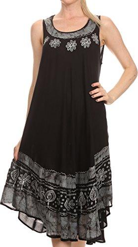 Sakkas Batik Flower Caftan Tank Dress / Cover Up