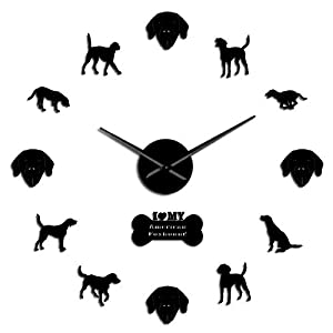 GUABOHHY American English Pointer Coonhound Gifted Dog Silhouette Foxhound Kit Dog Breed Silent Non Ticking 3D Large Clock for Bedroom 33