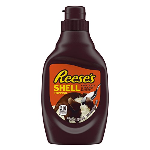 REESE'S Shell Topping (Chocolate and Peanut Butter, 7.25-Ounce Bottles, Pack of 12)