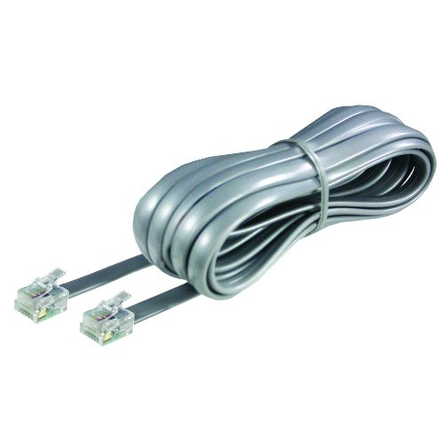 Softalk Phone Line Cord 15-Feet Silver Landline Telephone Accessory (46615)