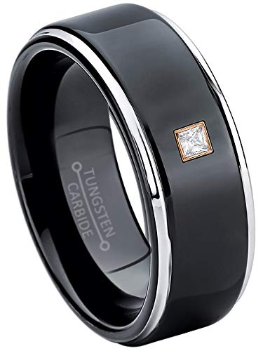 0.05ctw Solitaire Princess Cut Diamond Tungsten Ring - 8MM Polished 2-Tone Stepped Edge Tungsten Carbide Wedding Band - April Birthstone Ring - s6.5 ()