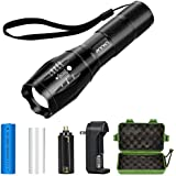 Tactical Flashlight Kit, ANNAN 1000-Lumen Bright LED Flashlight with Zoomable Head, 5-Mode, Portable Waterproof Torch, Aluminum Frame, AAA or Included Rechargeable Lithiumion Battery,Charger