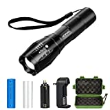 Tactical Flashlight Kit, ANNAN 1000-Lumen Super Bright LED Flashlight with Zoomable Head, 5-Mode, Portable Waterproof Torch, Aluminum Frame, AAA or Included Rechargeable Lithiumion Battery,Charger