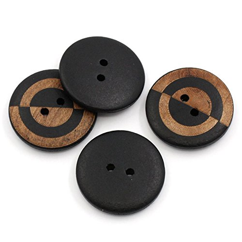 10 Black and Brown 2 Hole Round Wood Sewing Buttons 1