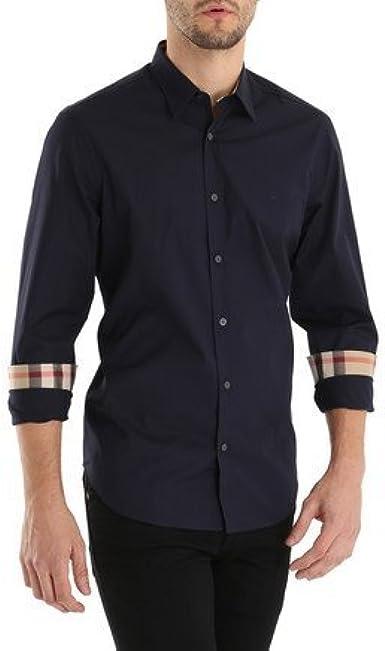 BURBERRY - Camisa de vestir - para hombre azul marino S: Amazon.es: Ropa y accesorios