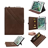 TechCode iPad Case for Pro 12.9 2018, Premium PU Leather Folio Business Case Multi-Angle Viewing Stand Cover Skin Card Slots Pouch with Pencil Sleeve for iPad Pro 12.9 inch 3rd Gen 2018,Dark Brown