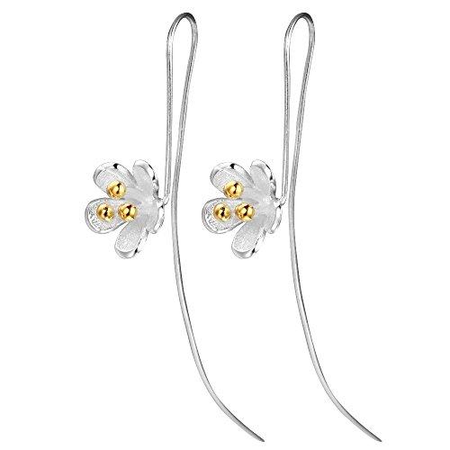 925 Sterling Silver Trendy Elegant Shiny Daisy Lotus Flower Ginko Stud Earring For Friend Lover Birthday Gifts Women (style ()