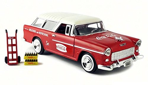 - Coca-Cola   1955 Chevy Nomad With Metal Handcart And 2 Bottle Cases Model Vehicles, Red