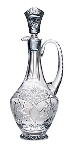 Majestic Gifts 46-Ounce Hand Cut Crystal Oversized Wine Decanter with Handle, X-Large/15.75-Inch, Pinwheel, Clear ()