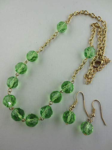 Goldtone Faceted Green Glass Bead Choker Necklace Dangling Earrings